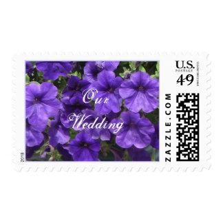 Purple Passion Petunias Wedding Postage