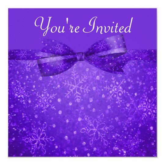 Purple Passion & Shimmer Snowflakes Wedding Card