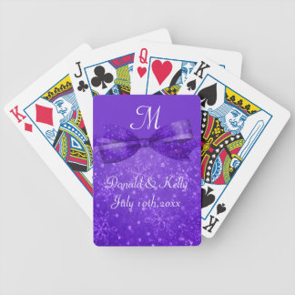 Purple Passion & Shimmer Snowflakes Wedding Bicycle Playing Cards