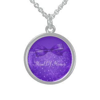 Purple Passion & Shimmer Snowflakes Wedding Sterling Silver Necklace