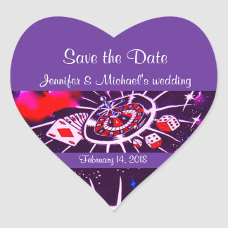 Purple Passion Vegas Casino Style Wedding Heart Sticker
