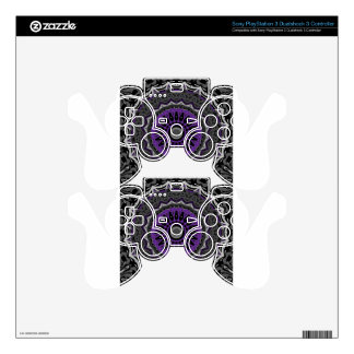 Purple Passion with Black and White Kaleidoscope PS3 Controller Skins