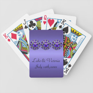 Purple Passionate Bejeweled Wedding Bicycle Playing Cards