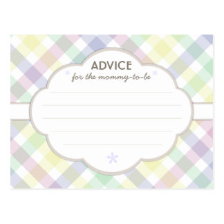 Purple Pastel Baby Shower Mommy to Be Advice Card