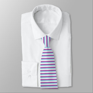 Purple, Pastel Blue and White Stripes Tie