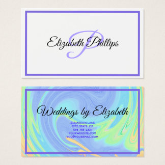 Purple Pastel Paint Swirl With Monogram Letter Business Card