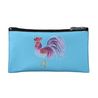 Purple Pastel Rooster on Turquoise Blue Background