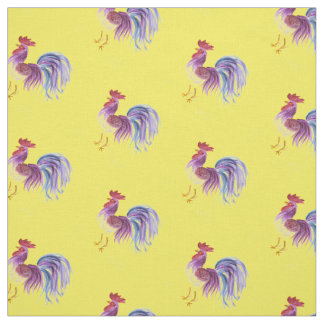 Purple Pastel Rooster on Yellow Fabric
