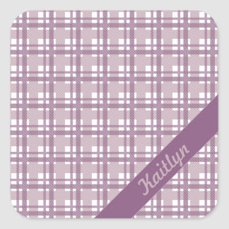Purple Pastel tartan pattern sticker with name