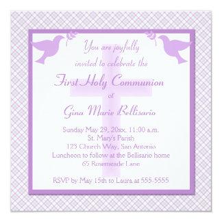 Purple, Pastels & Plaid First Communion Invitation