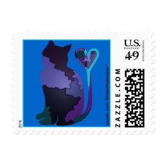 Purple Patchwork Camo Kitty Cat Postage