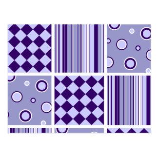 Purple Patchwork Pattern Postcard