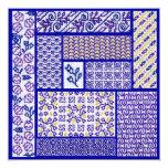 """Purple Patchwork square card 5.25"""" Square Invitation Card"""