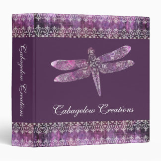 Purple Patina: Dragonfly Filigree 3 Ring Binder