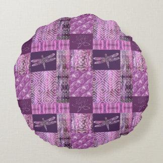 Purple Patina: Mosaic Round Pillow