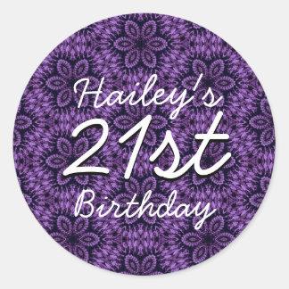 Purple Pattern 21st Birthday Custom Name V205 Classic Round Sticker