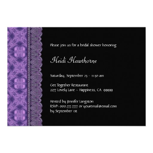 Purple Pattern and Lace Bridal Shower Invitations