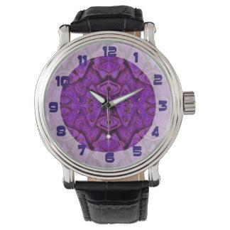 purple pattern background wrist watches