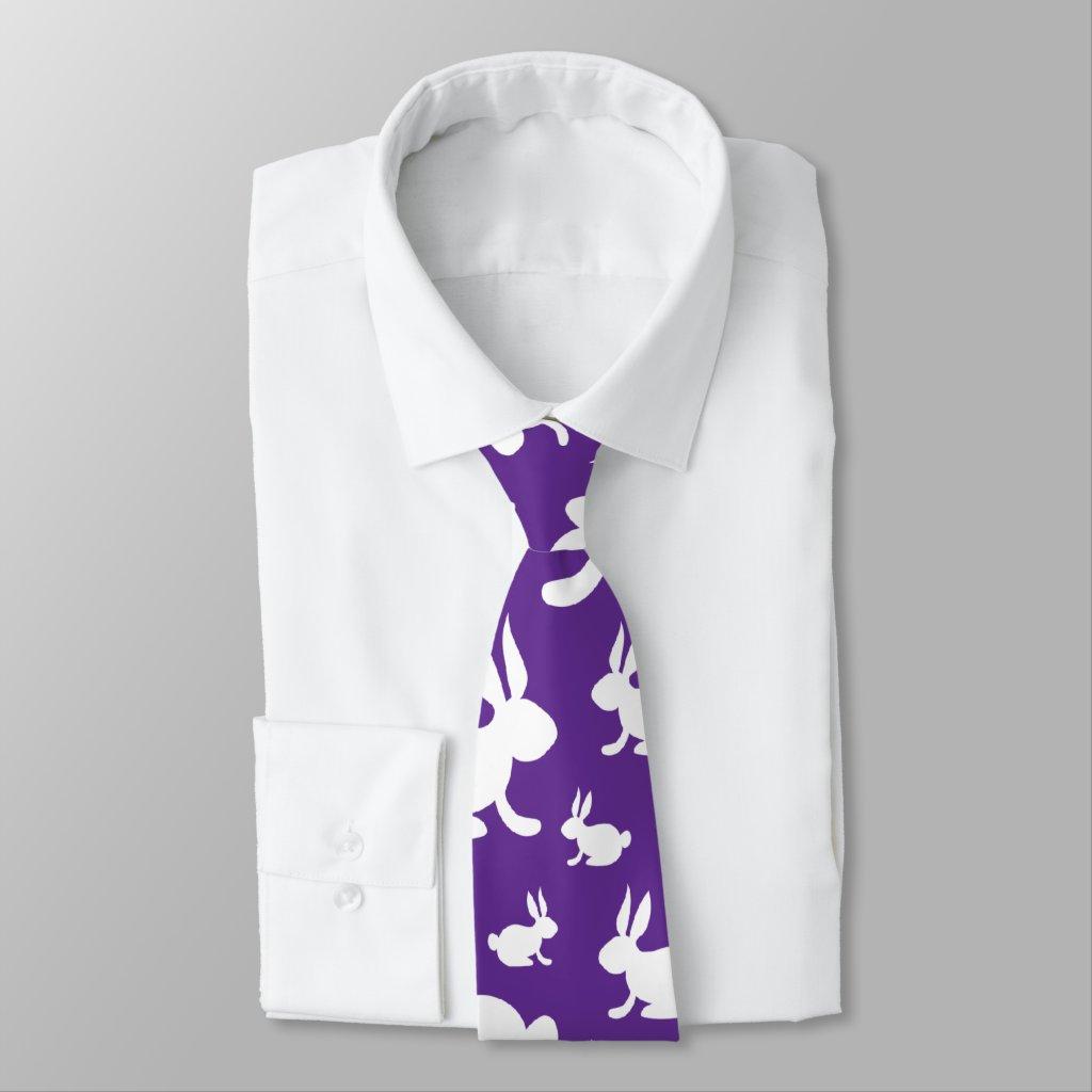 Purple Pattern Bunnies Neck Tie