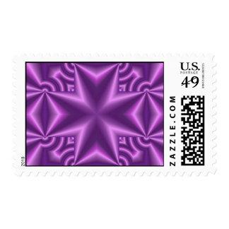 Purple Pattern Cross Postage Stamp
