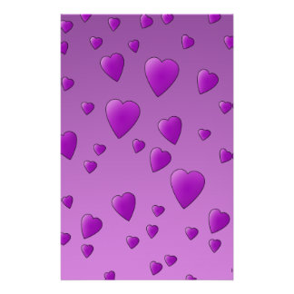 Purple Pattern of Love Hearts Flyers