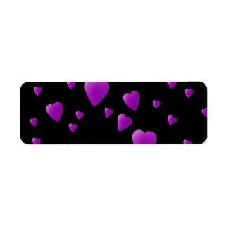Purple Pattern of Love Hearts on Black. Label