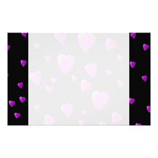 Purple Pattern of Love Hearts on Black. Stationery