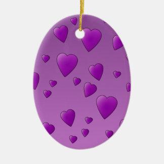 Purple Pattern of Love Hearts Christmas Tree Ornaments