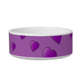 Purple Pattern of Love Hearts. Cat Food Bowls