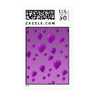 Purple Pattern of Love Hearts. Postage