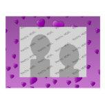 Purple Pattern of Love Hearts. Postcards