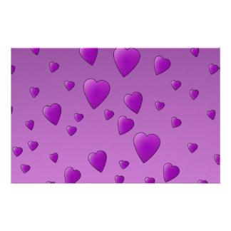 Purple Pattern of Love Hearts. Stationery