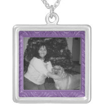 purple pattern photo frame silver plated necklace