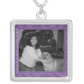 purple pattern photo frame square pendant necklace