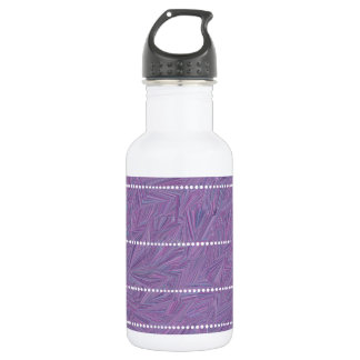 Purple Pattern with White Dotted Lines Stainless Steel Water Bottle