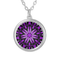Purple Patterned Design Silver Plated Necklace