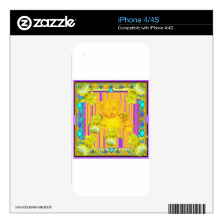 Purple Patterned Gold Iris Garden Gifts Decals For The iPhone 4