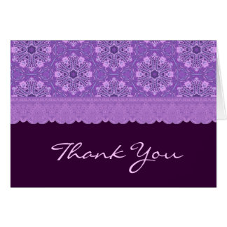 Purple Patterns and Lace Thank You Any Occasion Card
