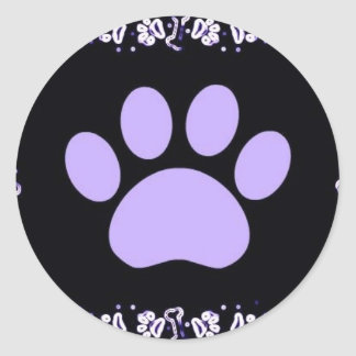 Purple paw classic round sticker