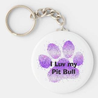 purple paw, I Luv my Pit Bull Key Chain