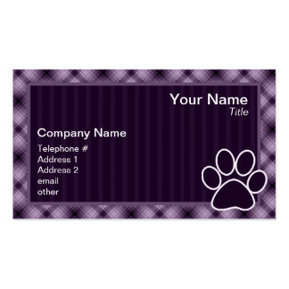 Purple Paw Print Double-Sided Standard Business Cards (Pack Of 100)