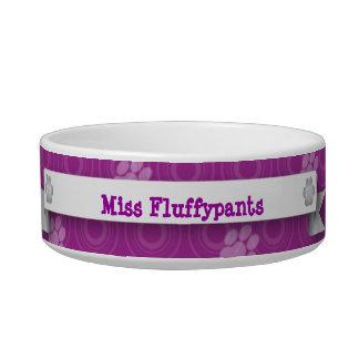 Purple Paw Print Cat Bowls