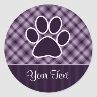 Purple Paw Print Classic Round Sticker