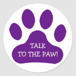 Purple Paw Print Classic Round Sticker