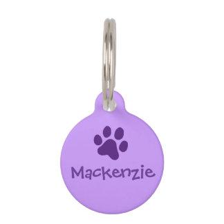 Purple Paw Print Pet ID Tags