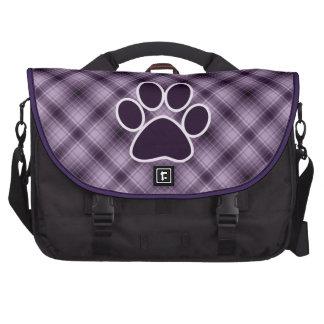 Purple Paw Print Laptop Messenger Bag