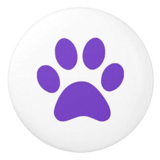 Purple Paw Print pawprint Ceramic Knob