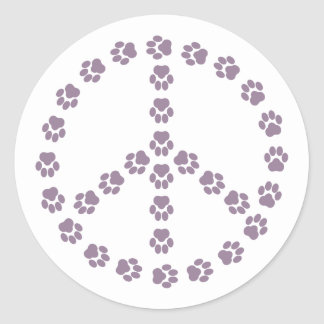 Purple Paw Print Peace Sign Sticker