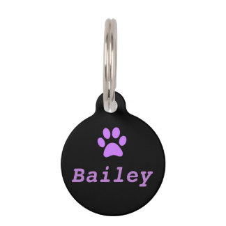 Purple Paw Print Pet Tag