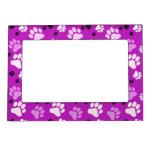Purple Paw Print Photo Frame Magnet